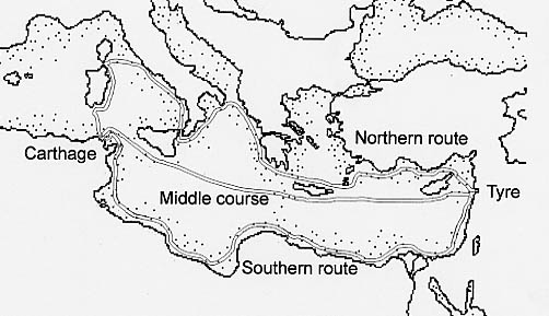 The three routes of the Phoenecians